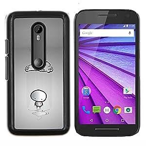 YiPhone /// Prima de resorte delgada de la cubierta del caso de Shell Armor - Nube de lluvia Stickman sola triste gris Heartbrake - Motorola MOTO G3 / Moto G (3nd Generation)