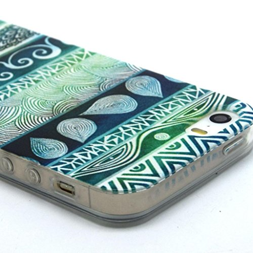 Iphone 5c Case, JAHOLAN Green Aztec Tribal Clear Bumper TPU Soft Case Rubber Silicone Skin Cover for iphone 5C