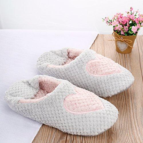 ieasysexy Women Winter Comfy House Slipper Indoor Shoes with Non-Slip Sole(Grey 38-39) Grey kIJpDj0