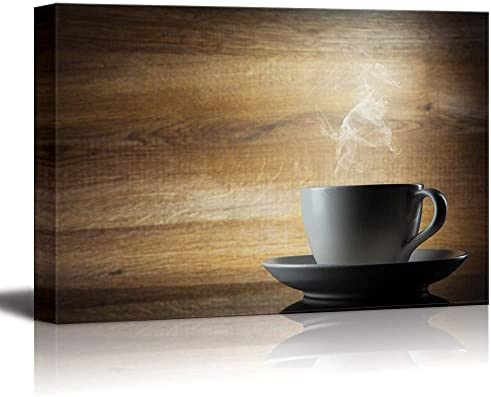 White Smoke Rising from Coffee Cup with Wooden Background Wall Decor
