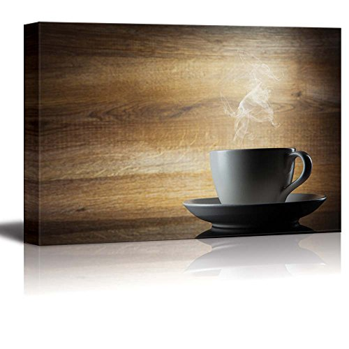 White Smoke Rising from Coffee Cup with Wooden Background Wall Decor ation