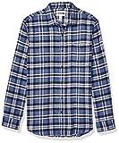 Amazon Essentials Men's Slim-Fit Long-Sleeve Plaid Flannel Shirt, Blue, Small