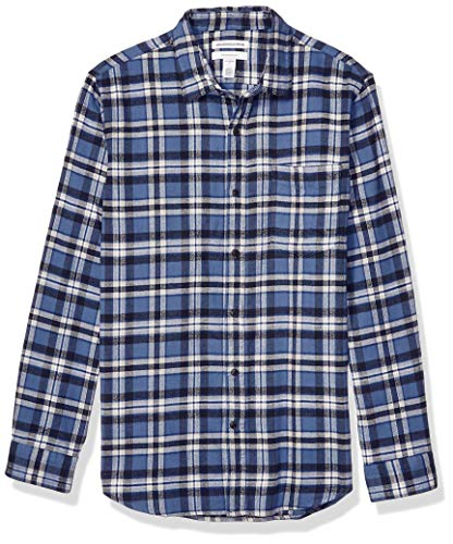 Amazon Essentials Men's Standard Slim-Fit Long-Sleeve Plaid Flannel Shirt, Blue, Medium