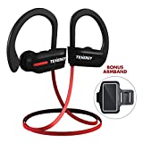 Tenergy T20 Bluetooth Wireless Headphones, IPX7 Sweatproof Sports Earphones for Running, Noise Canceling 8-Hour Working Time, In-ear Bluetooth V4.1 Stereo Earbuds with Mic Bonus Sport Armband