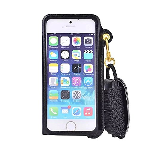 iPhone 6S Plus Case, Welity Detachable Lanyard PU Leather Hanging Neck Strap Wallet Case Cover with Card Slots & Earphone Winder Function for Apple iPhone 6/6S Plus (Black)