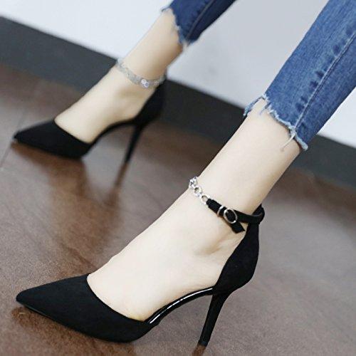 Xue Xue Xue Qiqi Spitze des high-heel Schuhe und vielseitige geschlitzten Kette dünn und hohlen flachen Mund einzelne Schuhe  fb6b3f