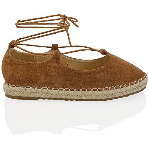 Essex Glam Dames Espadrilles Lace Up Flat Gesloten Teen Enkellaarzen Sandalen Mocca / Brown Faux Suede