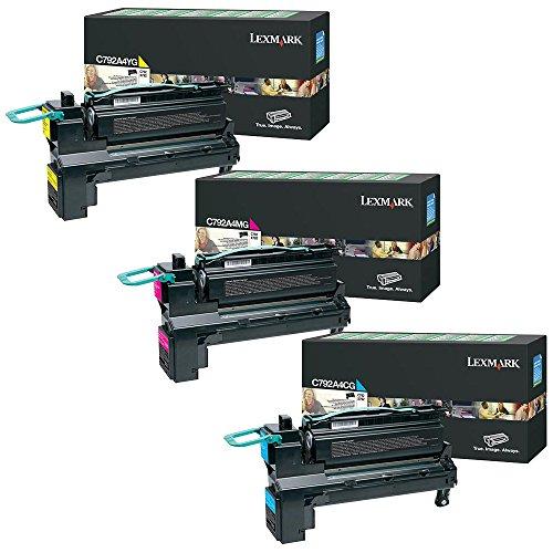 Lexmark C792A4CG, C792A4MG, C792A4YG Standard Yield Toner Cartridge Set Colors Only (CMY)