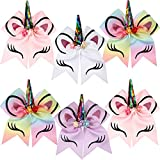 BBTO 6 Pieces Unicorn Shape Cheer Hair Bows Colorful Elastic Headband Grosgrain Bows for Girls, 7 Inch