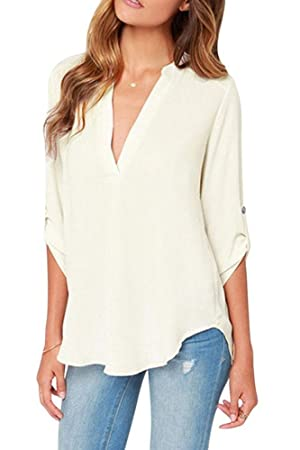 Sarin Mathews Women's Blouses Plus Size V Neck Cuffed Sleeve Blouse Shirts Tops,White,M(US 6)