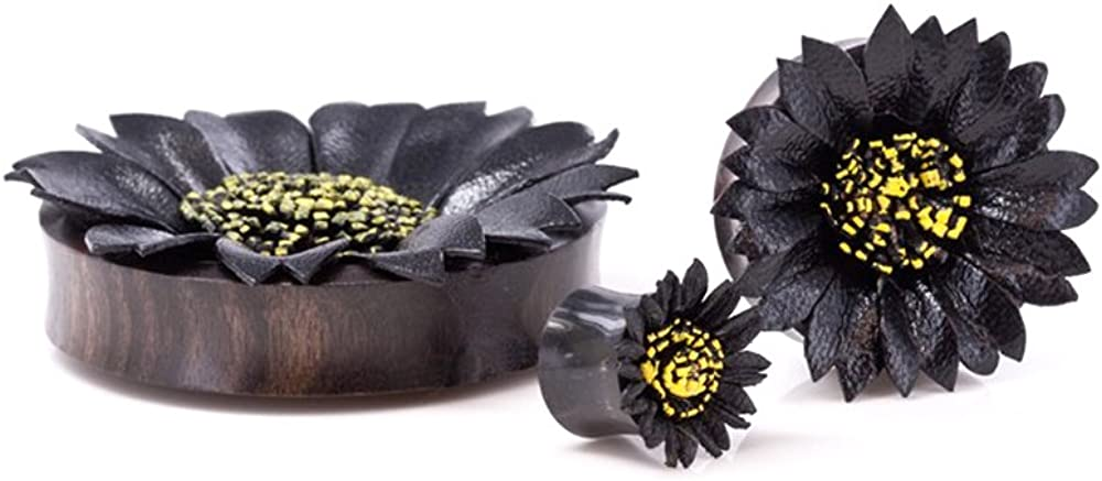 Elementals Organics Horn Ear Plug –Ear Gauge with Black Leather Flower Inlay