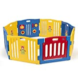 GHP 8-Panel 31''x23.5'' Kids Multi-Color Playpen Set with Built-in Activity Board