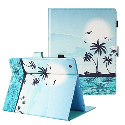 TKOOFN Case for iPad 2/3/4,Cartoon Print Folding Wallet Stand Case Cover with Auto Wake and Sleep [Card Slots Holder] for Apple iPad 2/3/4,Sunrise