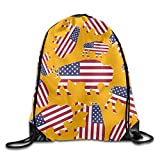 Buffalo USA Flag Lightweight Ripstop Polyester Sackpack Gift Bag Rucksack With Pattern Printing