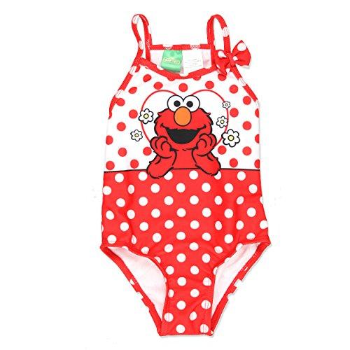 Sesame Street Elmo Girls Swimwear Swimsuit (2T, Red) (Elmo Girls Sesame Street)