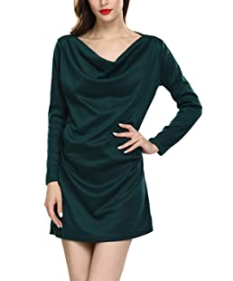 Womens Plus Size Cotton Dress Winter Elegant Cowl Neck Mini Dresses Green 4XL