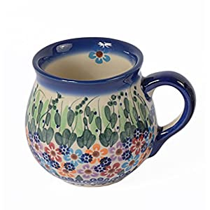 Traditional Polish Pottery, Handcrafted Ceramic Bubble Mug (250ml), Boleslawiec Style Pattern, Q.501.Daisy