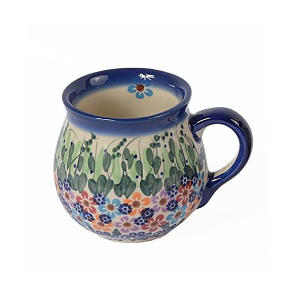 Traditional Polish Pottery, Handcrafted Ceramic Bubble Mug (250ml), Boleslawiec Style Pattern, Q.501.Daisy