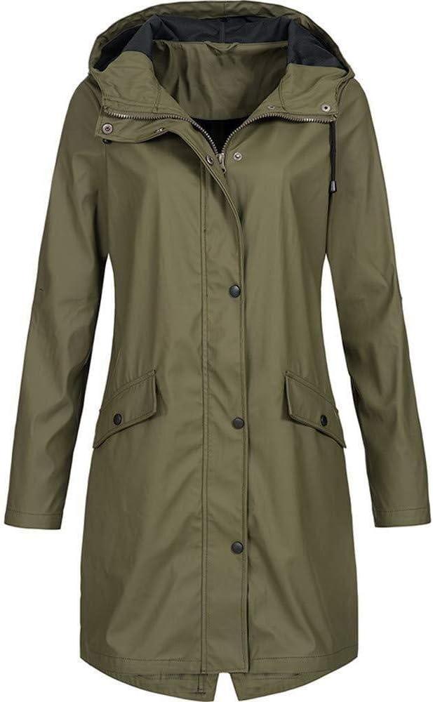 Regenjas voor dames outdoor plus solide waterdichte jas met
