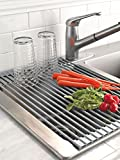 HUJI Over The Sink Stainless Steel and Roll Up Drying Rack Drainer(1, Roll Up Drying Rack)