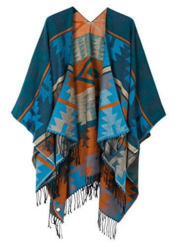 - Urban CoCo Women's Printed Tassel Open front Poncho Cape Cardigan Wrap Shawl (Series 4-Blue)