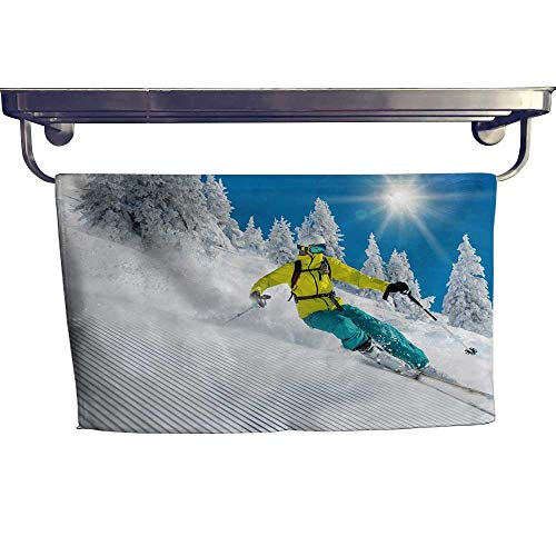 Leigh home Beach Towel,Freeride in Powder Snow ski ,Super Soft & Absorbent Fade Resistant Cotton Terry Towel W 23.5