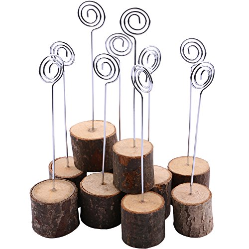 Wooden Base Place Card Holders, Dedoot Rustic Real Wood Base Table Number Holder Party Decoration Card Holders Picture Memo Note Photo Clip Holder- Pack of 10 (Card Place Christmas Holder Tree)