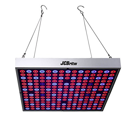 JCBritw 45W LED Grow Light for Indoor Plant Growing Lamp Full Spectrum with Red Blue UV IR 225 LEDs Hydroponics Greenhouse Hanging Kit Veg and Flower