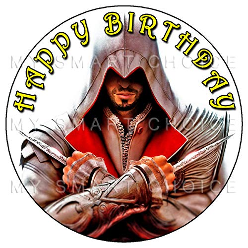 7.5 Inch Edible Cake Toppers – Assassin's Creed Themed Birthday Party Collection of Edible Cake Decorations