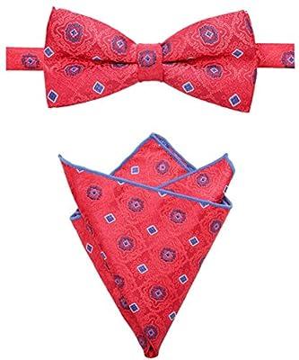 AUSKY Elegant Adjustable Pre-Tied Bow Tie Pocket Square Handkerchief set for Men Boys