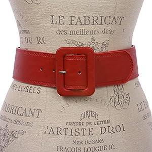 Women's 2 1/4″ Wide High Waist Rectangular Stitch-edged Leather Belt