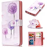 Samsung Galaxy A5 2017 Dandelion,enchased,Nine Card slotFlip Case Leather Cover Card Holders Kickstand Cell Phone Cover Extra-Durable Business