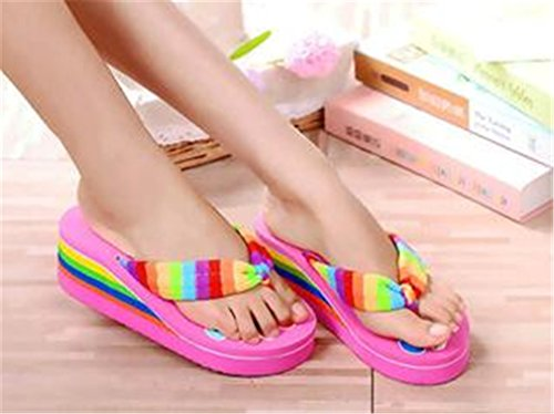 Rose Anti Sandals Slippers Flip Thick Rainbow skid Flops Various Women's Rainbow Bottom Belt Colours Fashion Boowhol gYxqZwTF