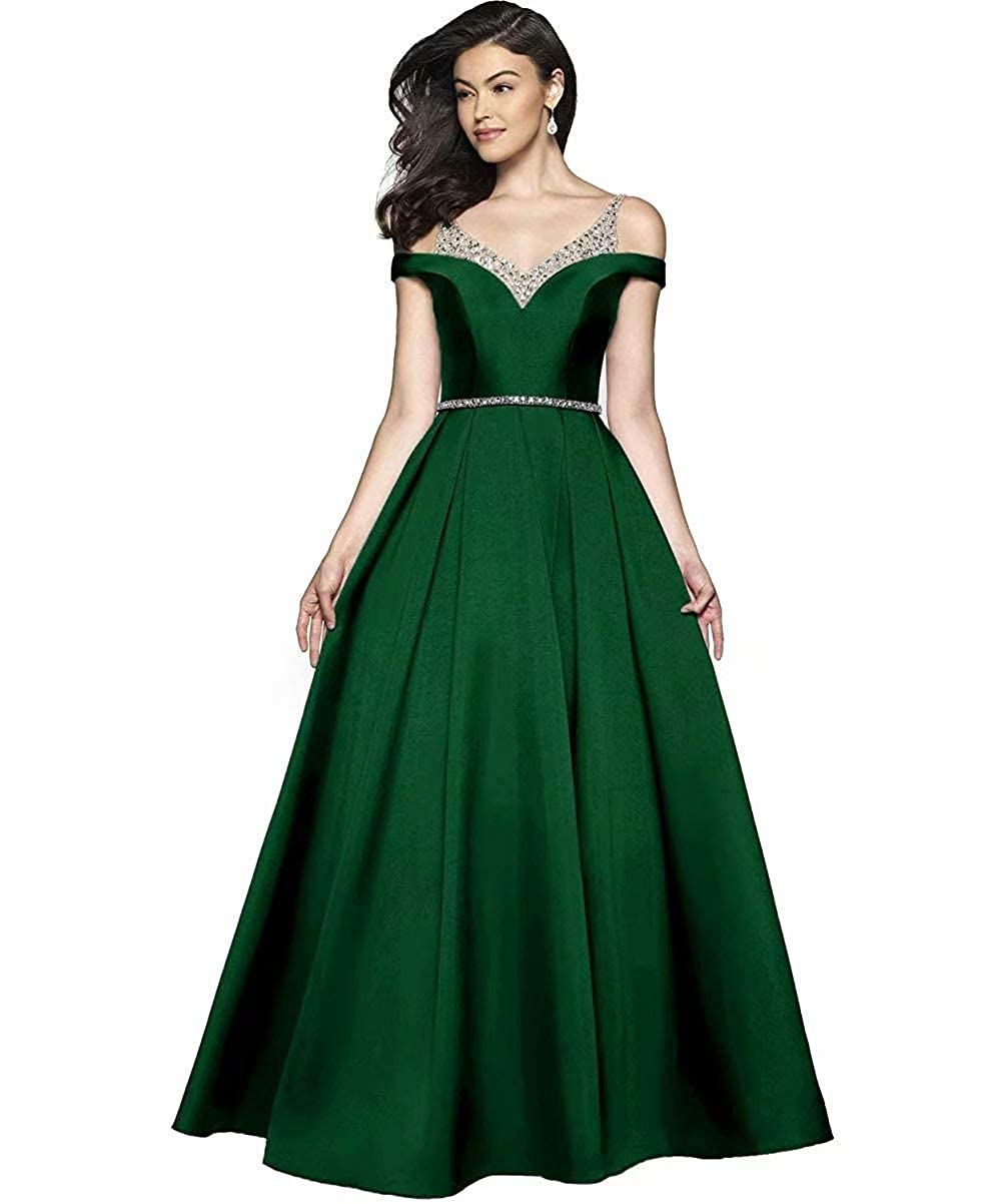 Emerald Green JYDX Women's Cold Shoulder V Neck Pleated Satin ALine Evening Prom Dress Long Formal Party Gown with Beaded Bodice