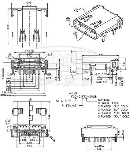 KeoKasu 10Pcs High speed data interface micro 3.1 usb DIY 24pin USB-C USB 3.1 Type C mother Socket Connector SMT type charging interface