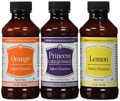 LorAnn Oils Bakery Emulsion Bundle, 4 oz (Lemon, Orange, Princess Cake & (Princess Teaspoon)