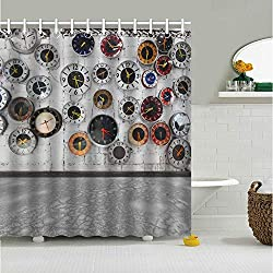 Tow Yus Dala Polyester Shower Curtain with 12 Hooks for Bath Decor-Retro Clocks on The Wall