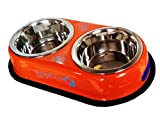 Petshop7 High Quality stainless steel dog Double Dinner Set - Orange-920Mlx2 -Medium