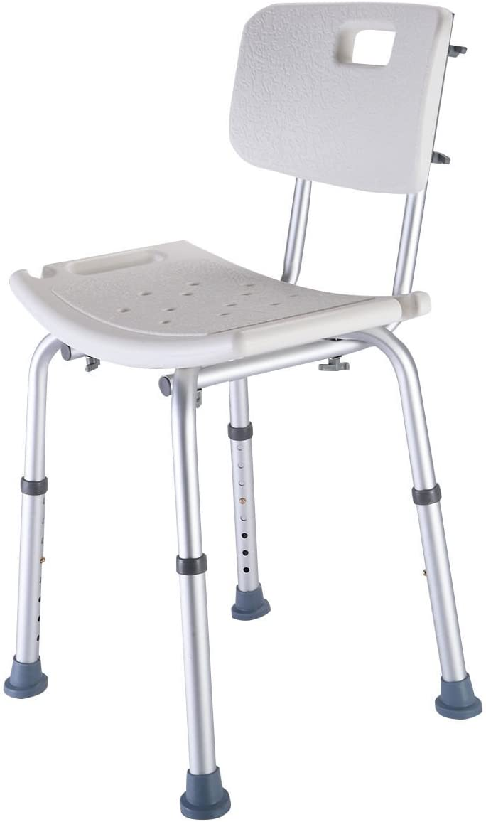8 Height Adjustable Medical Shower Bath Chair Stool Detachable Backrest