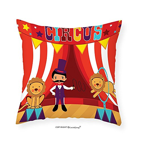 Wedge Tamer (VROSELV Custom Cotton Linen Pillowcase Circus Decor Collection Tamer and lions circus performance amusing celebrating decorative party Bedroom Living Room Dorm 14