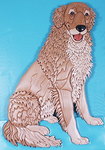 Golden Retriever Art Intarsia by Kathy Wise