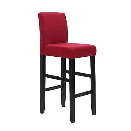Amazon.com: European Solid Wood Fabric Bar Stool Bar Chair ...