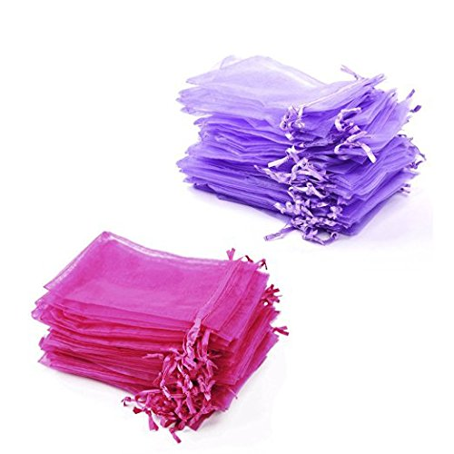 Bluecell Pack of 50 Hot Pink+Pack of 50 Purple color Organza Drawstring Gift Bag Pouch Wrap for Party/Game/Wedding (4.7x3.5inches)