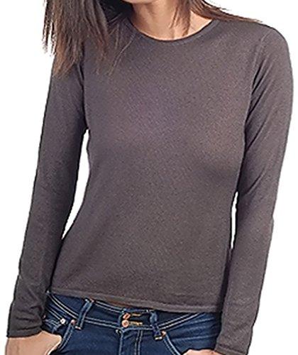 Balldiri 100% Cashmere Kaschmir Duvet Damen Pullover Rundhals 2-fädig brownies XS