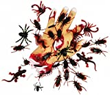 Joyin Toy 144 Pieces Plastic Realistic Bugs - Fake Cockroaches, Spiders, Scorpions and Worms for Halloween Party Favors and Decoration.