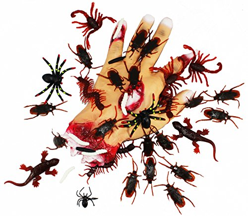 Joyin Toy 144 Pieces Plastic Realistic Bugs – Fake Cockroaches, Spiders, Scorpions
