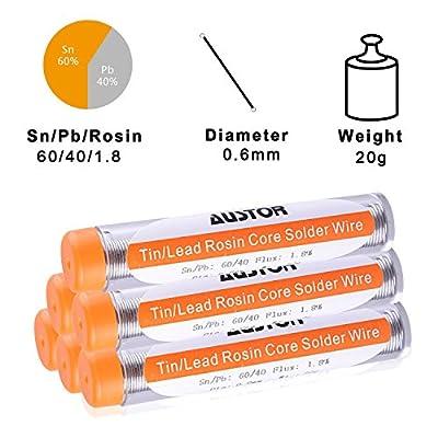 AUSTOR Pack of 6 Solder Wire 60-40 Rosin Core Solder 0.6mm Electrical Soldering Wire, 20g: Industrial & Scientific