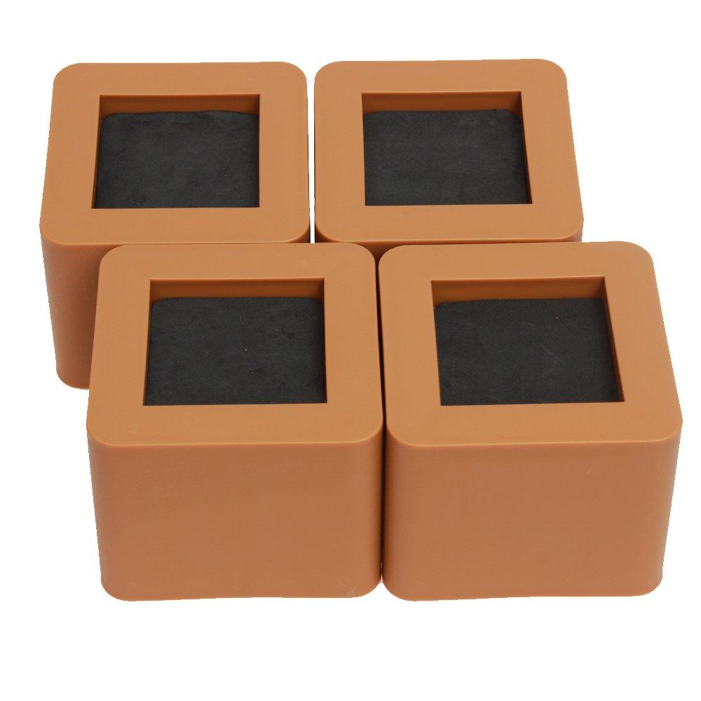 AliceBeauty, piedino per rialzare i letti o altri mobili, set da 4, plastica, Coffee, 4.25x4.25x3.43'' 4.25x4.25x3.43' '