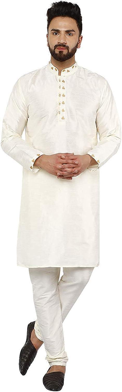 SKAVIJ Seda Moda Kurta Pijama (Camisa Larga y Pantalón) para Hombre