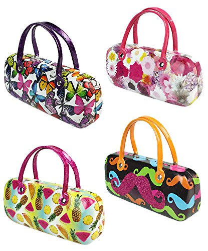 [4 PCS SET], JAVOedge Various Patterns Handbag Style Hard Eyeglasses Case for Storage and Bonus Soft Microfiber Cloth by JAVOedge